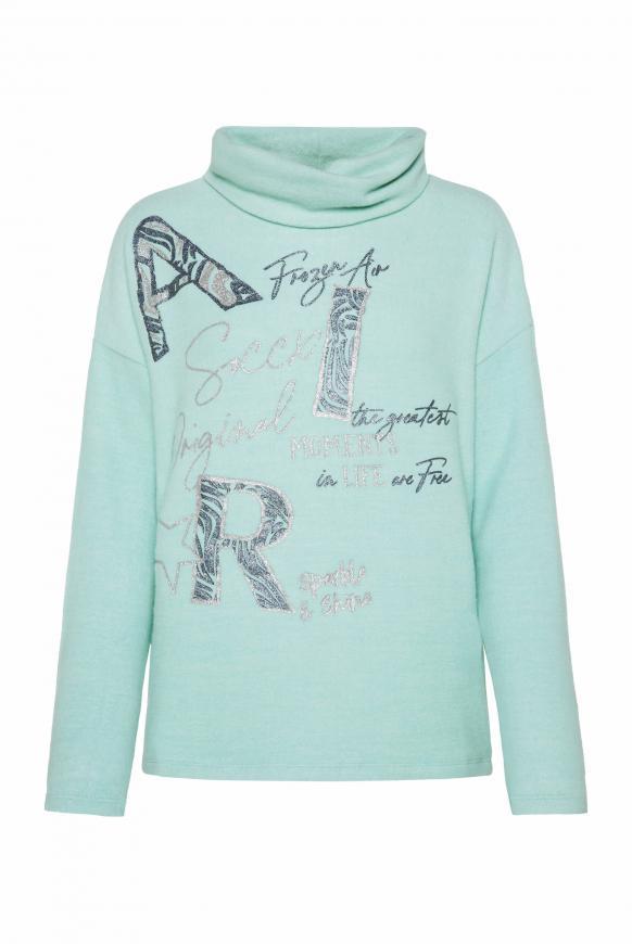 Pullover mit Rollkragen und Glitter Artwork frozen aqua melange
