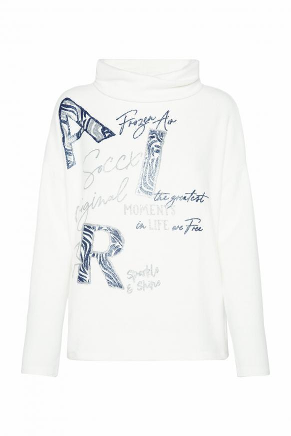 Pullover mit Rollkragen und Glitter Artwork ivory