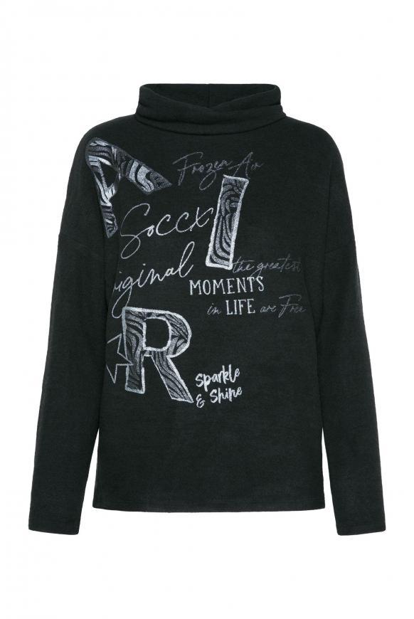 Pullover mit Rollkragen und Glitter Artwork black