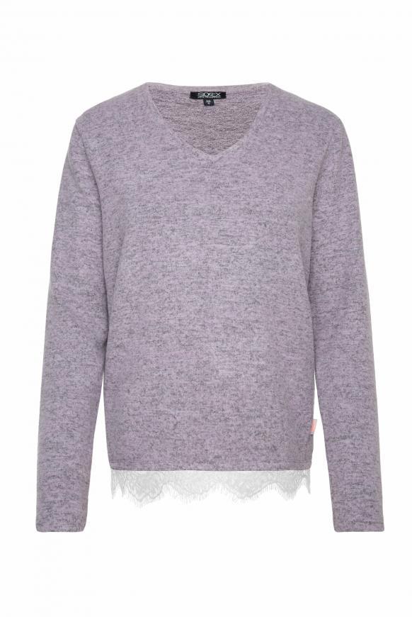 Pullover mit Spitzensaum violet melange