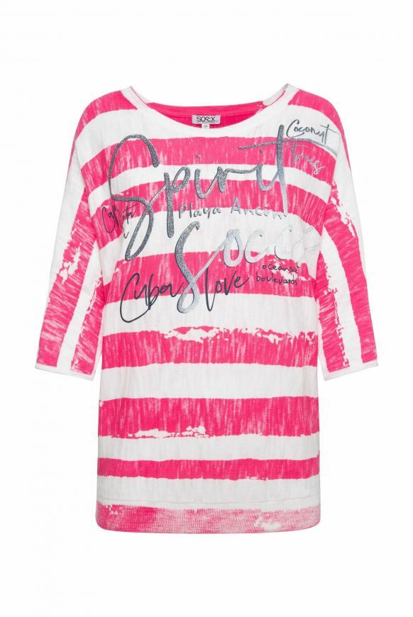 Pullover mit Streifen- und Glitter-Print oriental pink