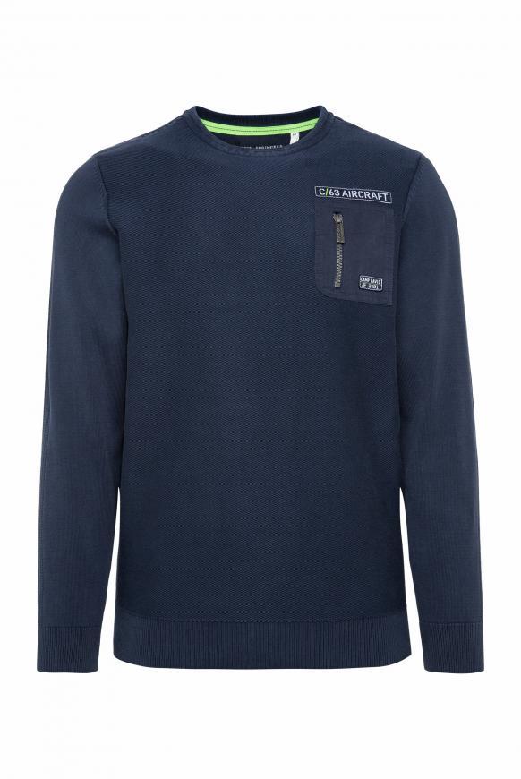 Pullover mit Strickmustern und Tasche blue navy