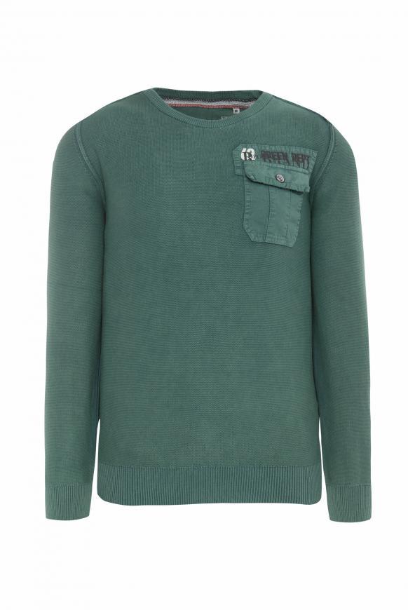 Pullover mit Tasche und Back Artwork grey green