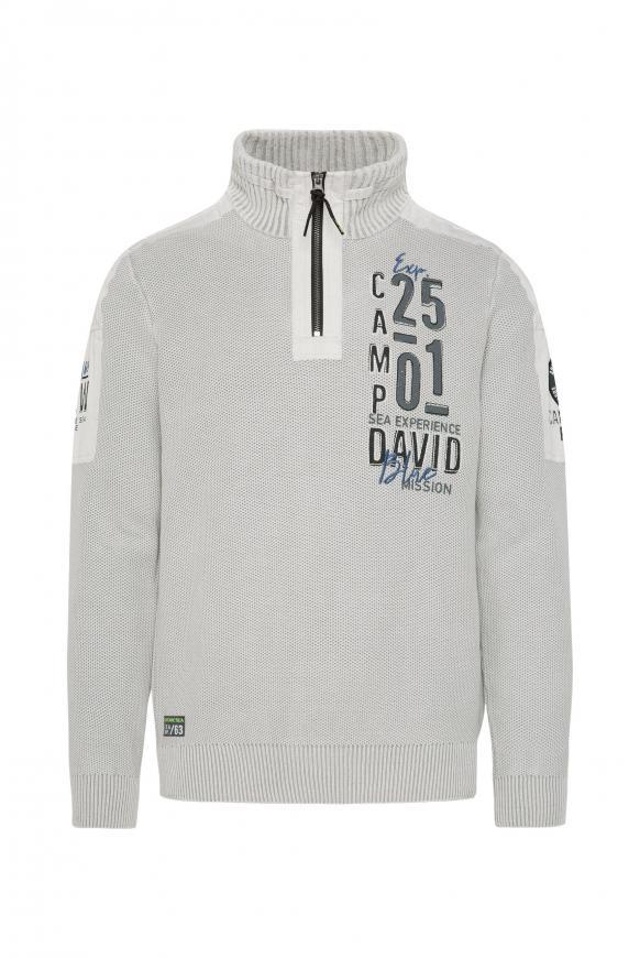 Pullover mit Troyer-Kragen und Artworks light grey
