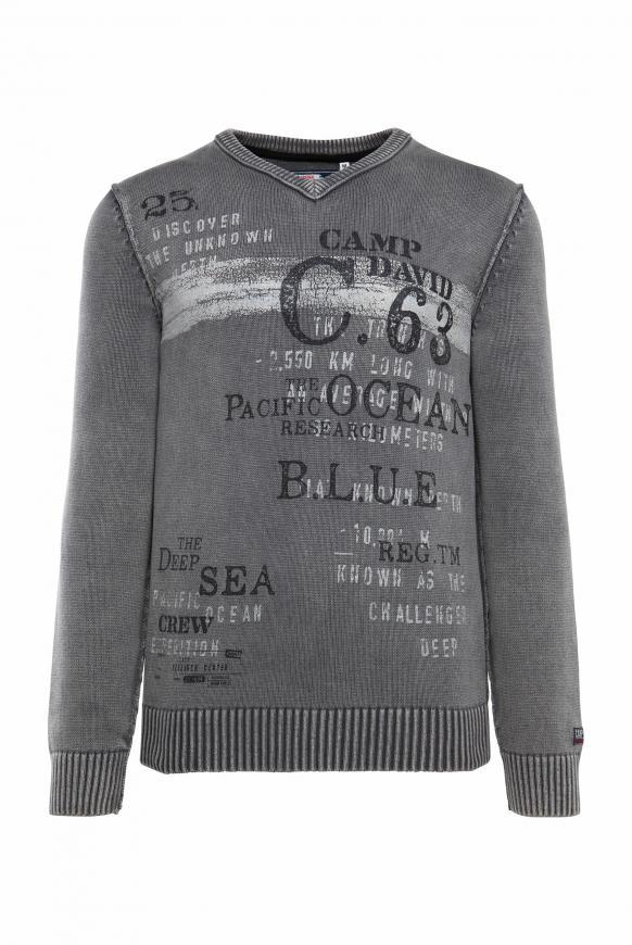 Pullover mit V-Neck und Vintage Print stone grey