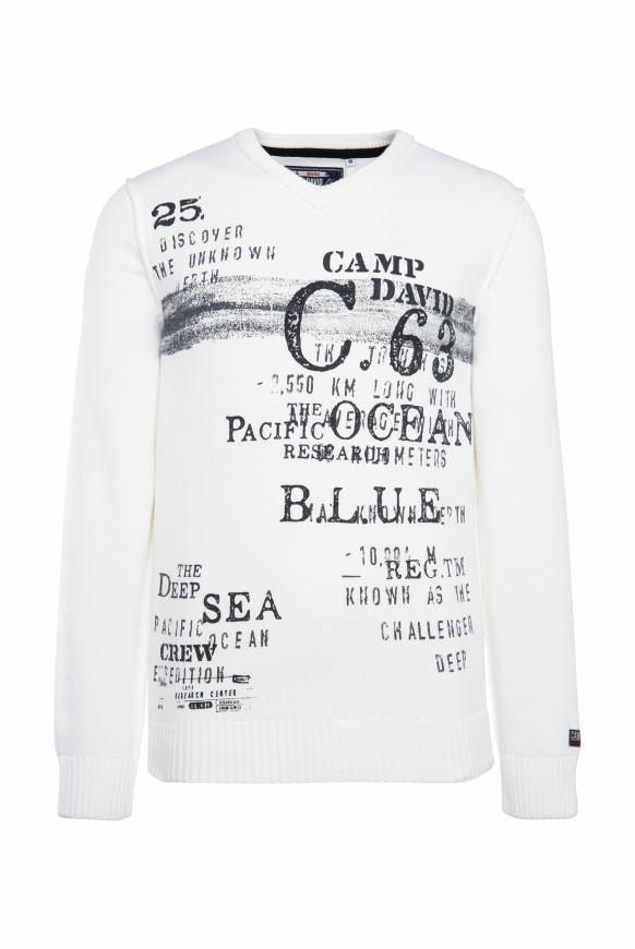 Pullover mit V-Neck und Vintage Print ivory