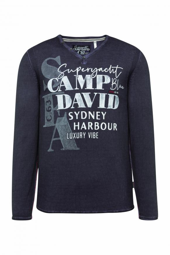 Pullover mit V-Neck und Watercolour Print deep sea