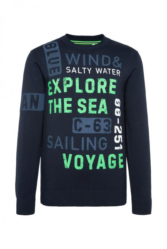 Pullover mit Wording Prints im Used Look new navy