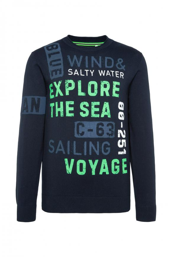 Pullover mit Wording Prints im Used Look new navy