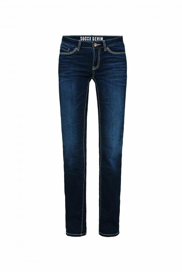 Regular Fit Jeans RO:MY mit Kontrastnähten dark blue