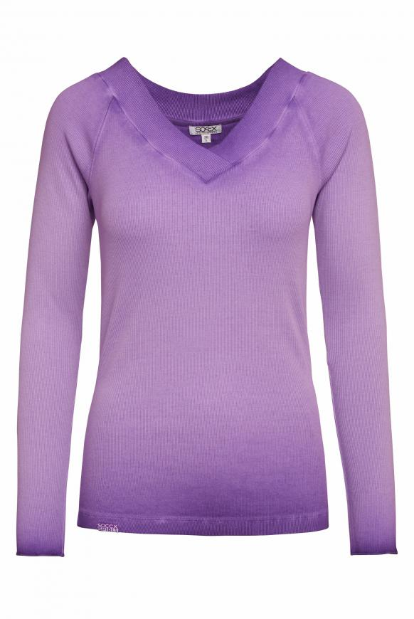 Rippshirt Inside Oil Dyed mit V-Ausschnitt bright purple