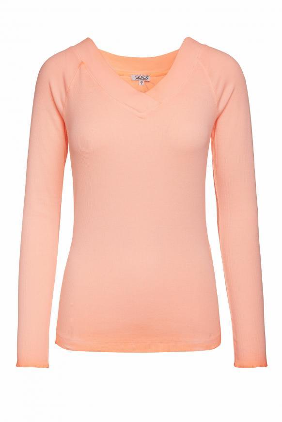 Rippshirt Inside Oil Dyed mit V-Ausschnitt neon orange