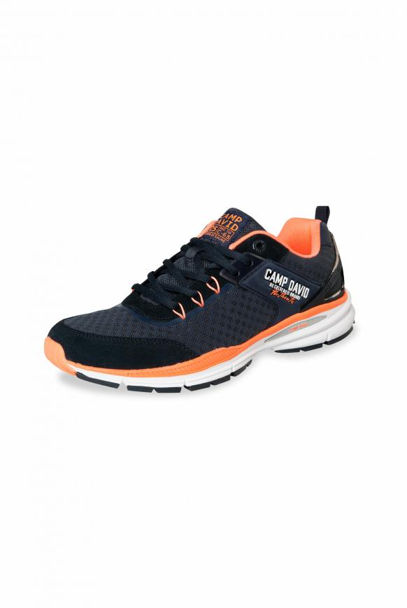 Running Sneaker aus Mesh navy / orange