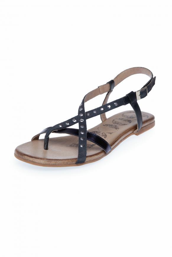 Sandale aus Leder mit Glitzersteinen moroccan blue