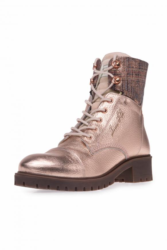 Schnürboots aus Leder mit Metallic-Coating metallic powder