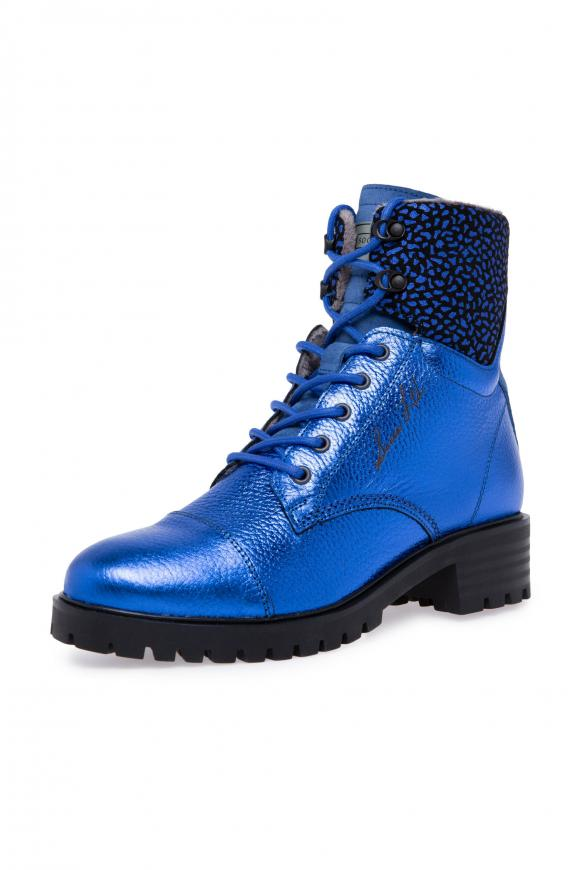Schnürboots aus Leder mit Metallic-Coating metallic blue
