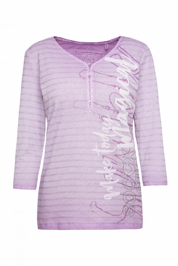Serafino-Shirt Oil Dyed mit Glitter-Streifen soft lavender