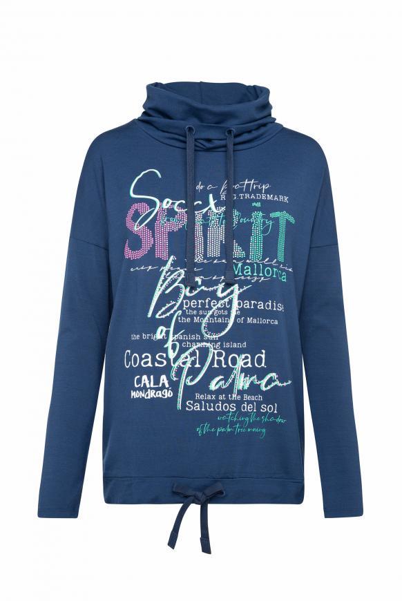 Shirt mit Artwork und hohem Kragen blue soul