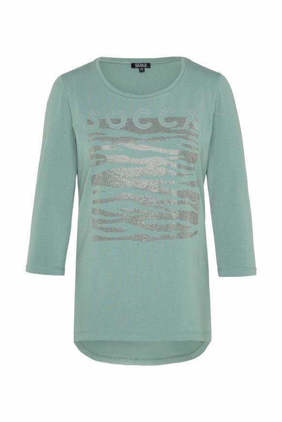 Shirt mit Logo Artwork aus Glitzersteinen matcha green