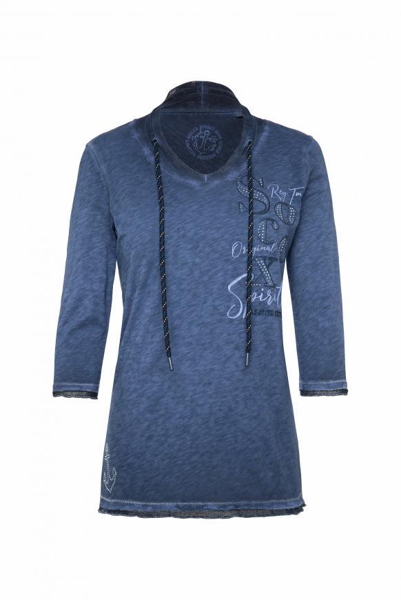 Shirt mit Mesh-Details und Rücken-Print nautic navy