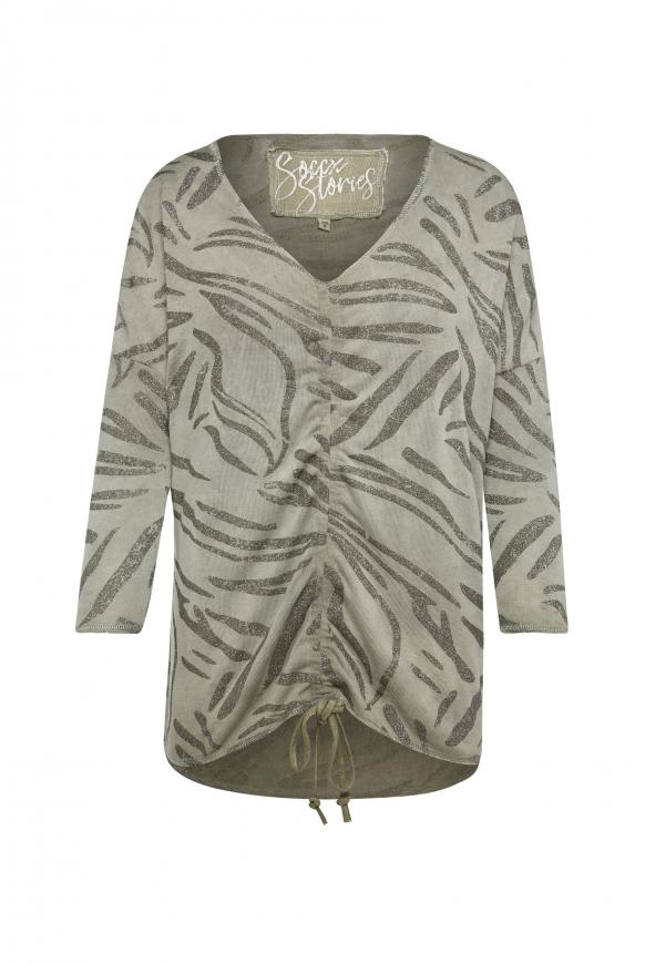 Shirt mit Raffung und All Over Glitter Print mellow olive