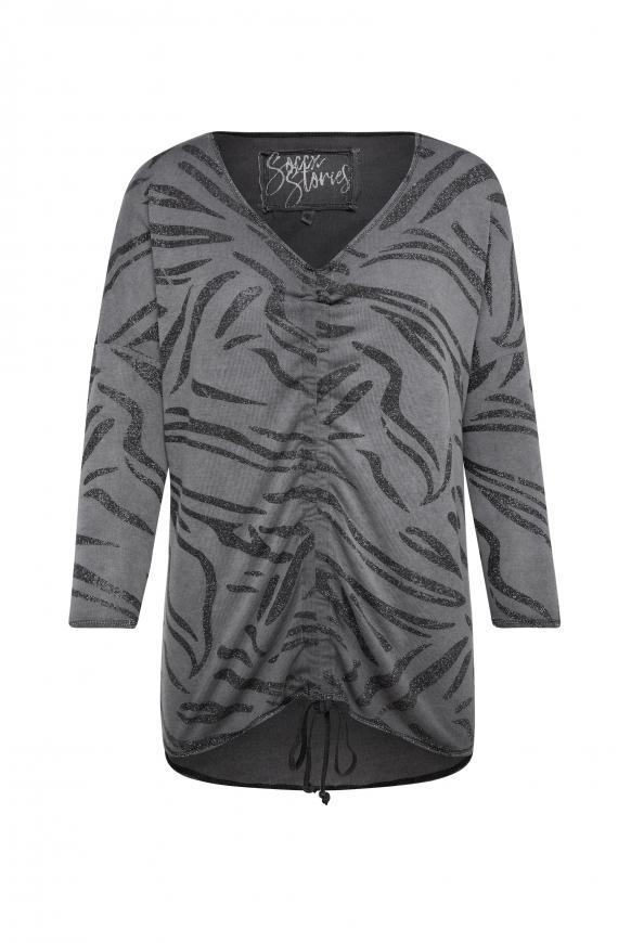 Shirt mit Raffung und All Over Glitter Print black