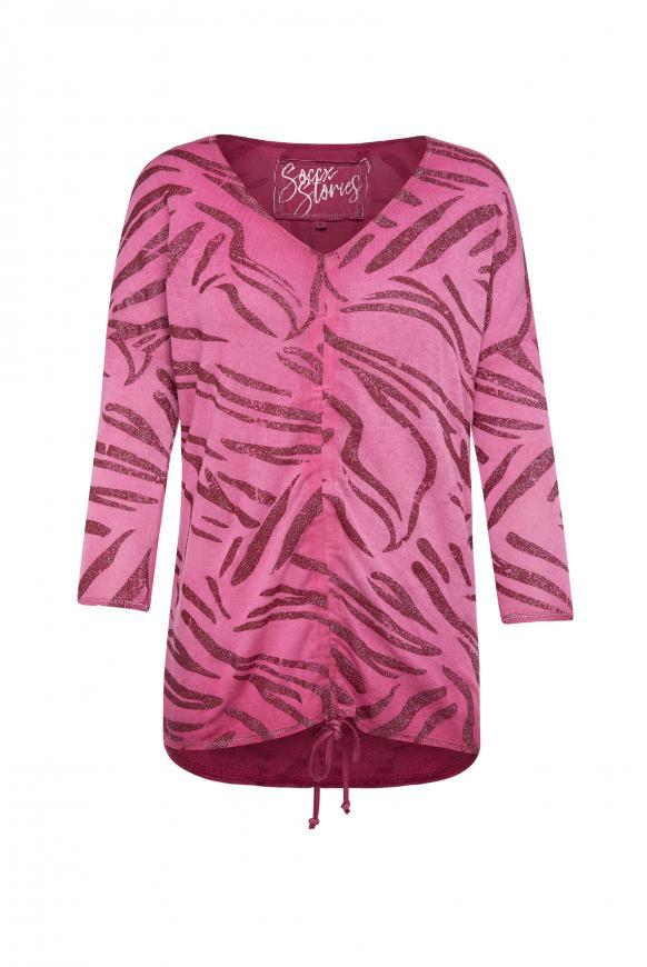 Shirt mit Raffung und All Over Glitter Print mexican wine