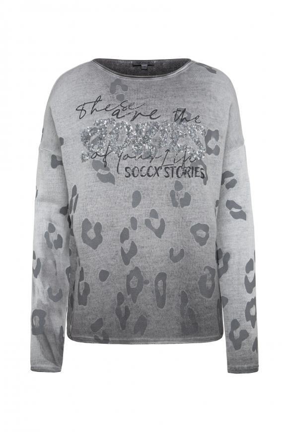 Shirt mit U-Boot-Ausschnitt und Artwork dark ash