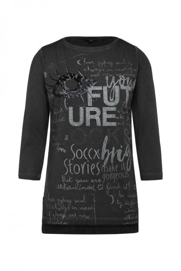 Shirt mit U-Boot-Ausschnitt und Artwork black