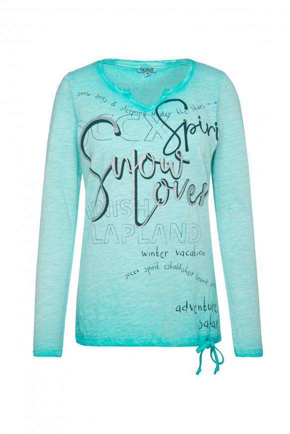 Shirt mit Wording Print und Bindeband-Saum icy aqua