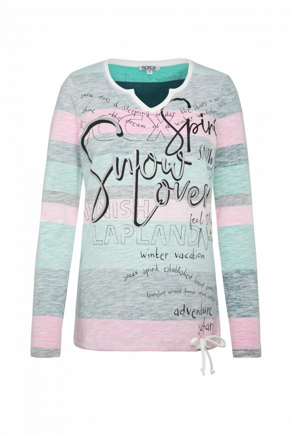 Shirt mit Wording Print und Bindeband-Saum multi color
