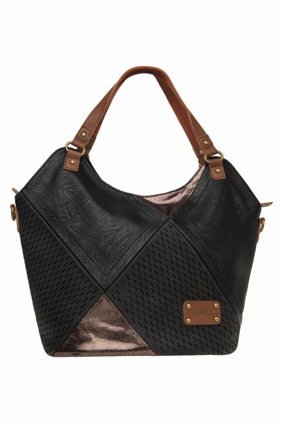Shopper im Patchwork Look aus Lederimitat black