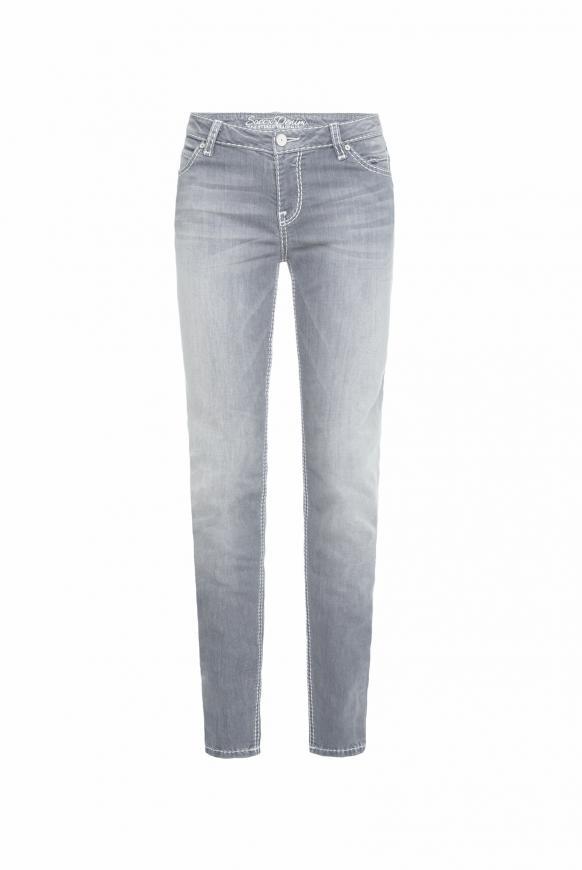 Slim Fit Jeans HE:DI mit ausgeblichenen Partien grey used