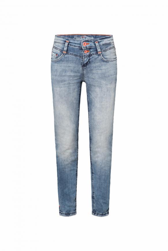 Slim Fit Jeans KI:RI mit Doppelknopf blue wash