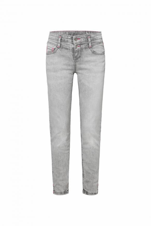 Slim Fit Jeans KI:RY mit Kontrastnähten grey used