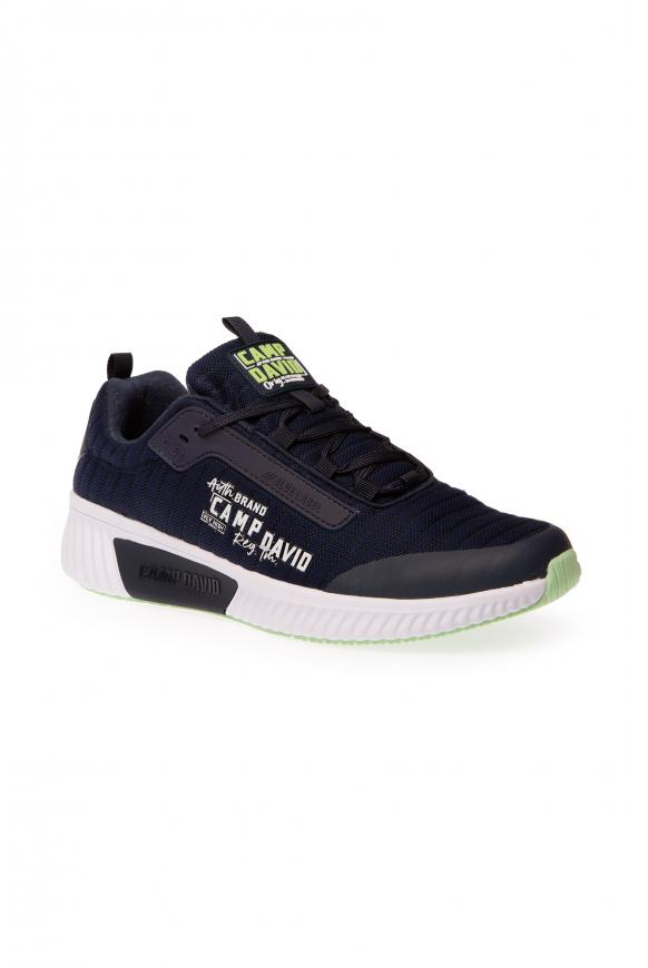 Sneaker aus Mesh mit Streifen-Dessin thunder blue