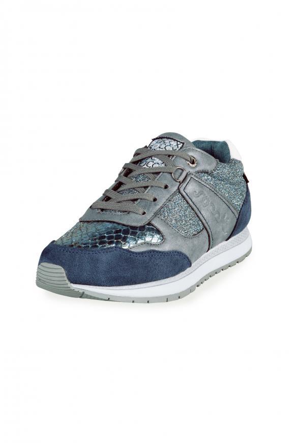 Sneaker im Materialmix mit Glanz-Effekten icy blue