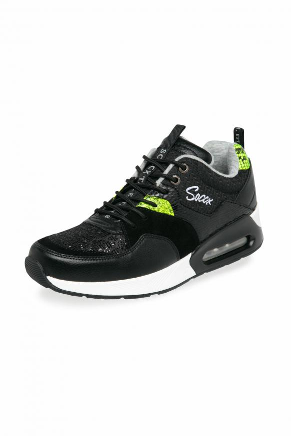 Sneaker im Materialmix mit Keilabsatz black