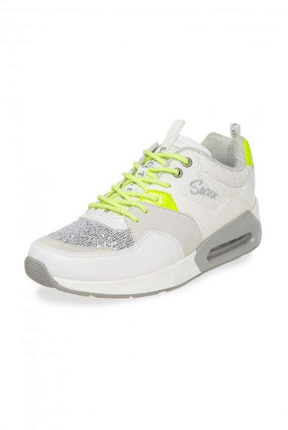 Sneaker im Materialmix mit Keilabsatz white