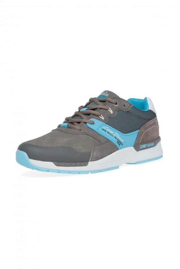 Sneaker im Materialmix mit Logo-Design stone brown