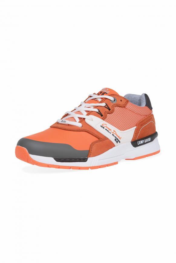 Sneaker im Materialmix mit Logo-Design winter orange