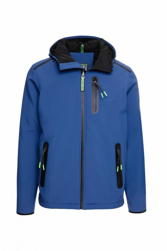 Softshelljacke mit Doppelkapuze diving blue