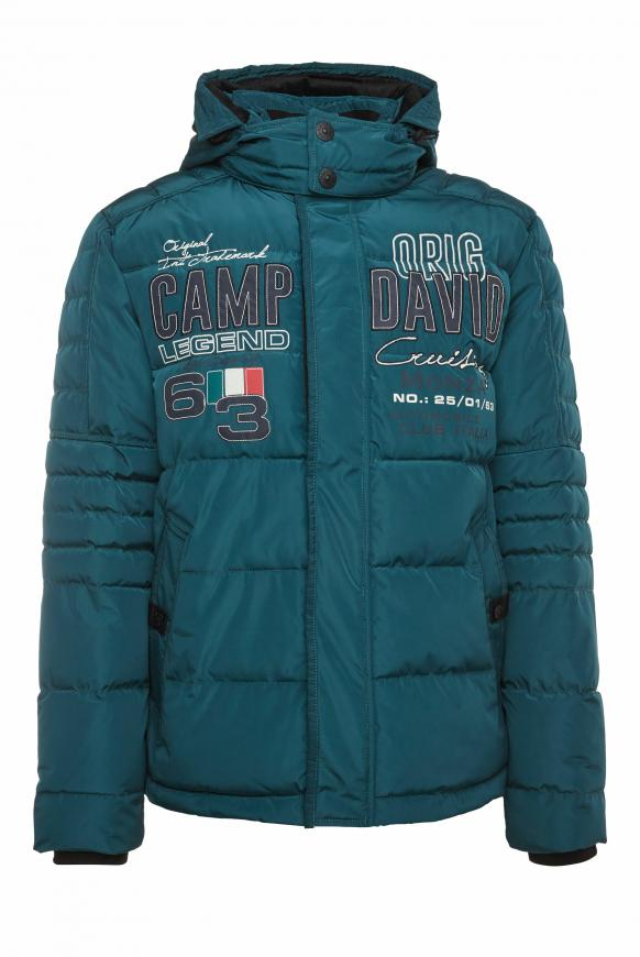 Steppjacke im Racing-Stil mit Artworks columbia green