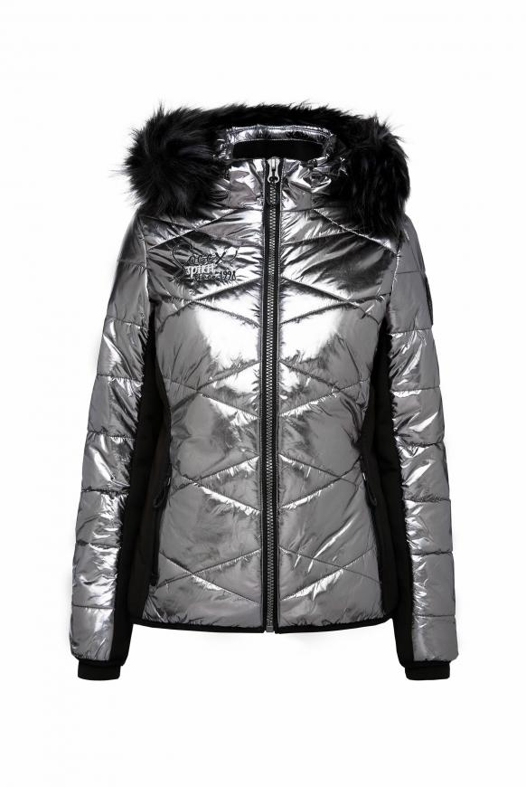 Steppjacke im Ski-Design mit Metallic Look silver