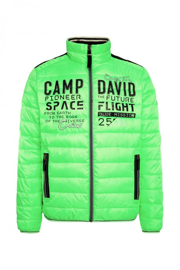 Steppjacke mit Tapes und Artwork neon green