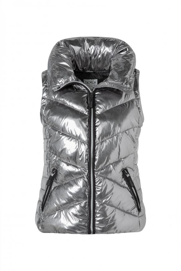 Steppweste mit Kapuze im Metallic-Design silver