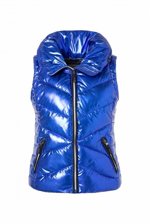 Steppweste mit Kapuze im Metallic-Design metallic blue