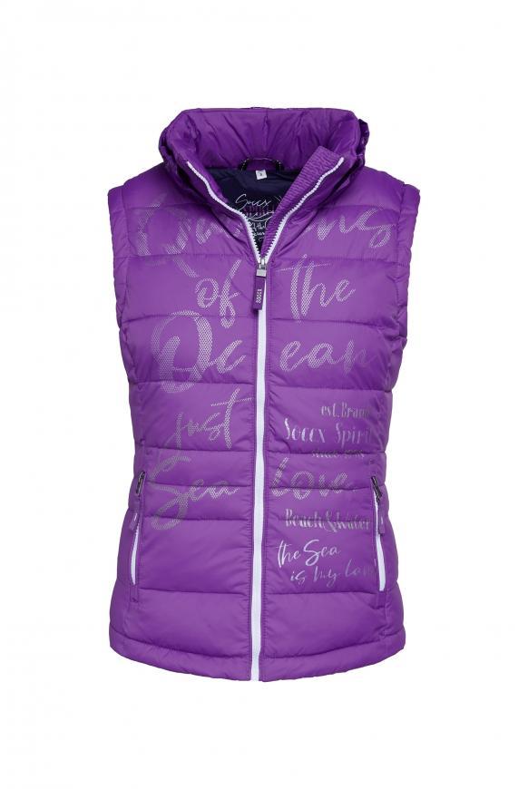Steppweste mit Print und Kapuzenkragen bright purple