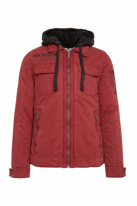 Stone Washed Jacke mit Kontrastkapuze maroon red