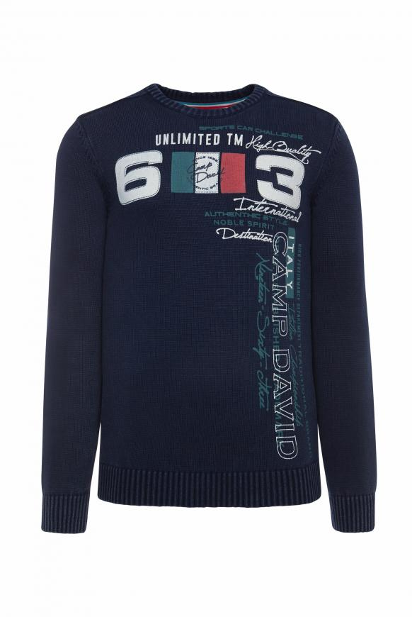 Stone Washed Pullover mit Label Print blue navy